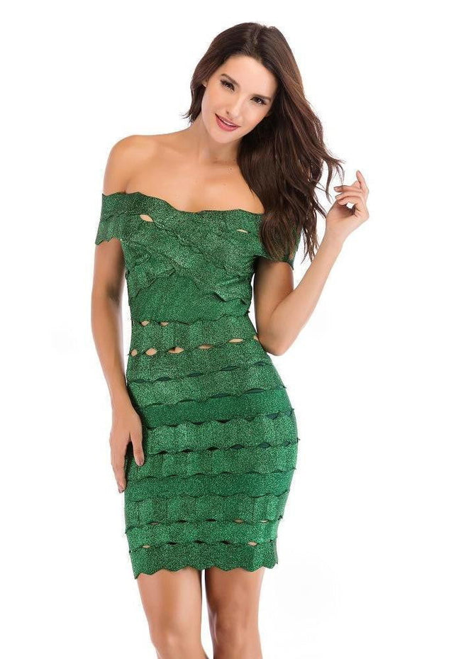 Emerald Green Off Shoulder Dress - DIOR BELLA