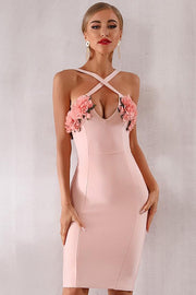 Pink Roses Halter Bandage Dress - DIOR BELLA