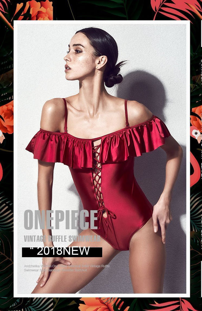 Ruffled Off Shoulder One Piece Swimsuit - DIOR BELLA
