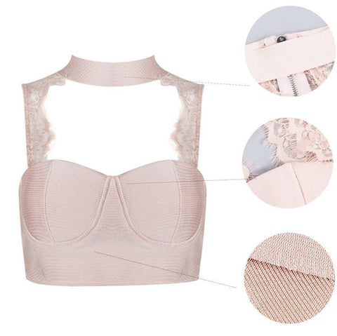 Lace Back Bandage Crop Top - DIOR BELLA