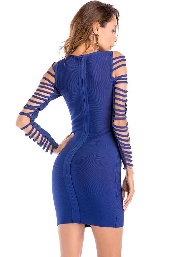 Royal Blue Fringe Mini Bandage Dress - DIOR BELLA
