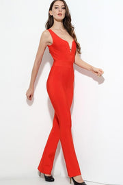 Red V-Neck Bandage Jumpsuit - DIOR BELLA
