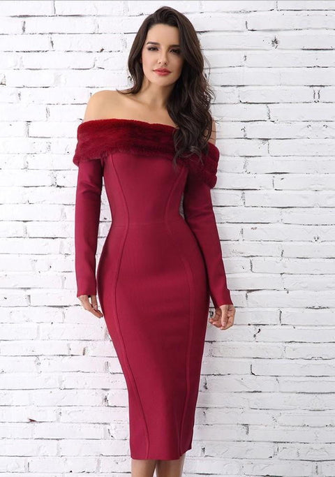 Bordeaux Off Shoulder Fur Bandage Dress - DIOR BELLA