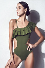 One Shoulder Cutout One Piece Swimsuit - DIOR BELLA