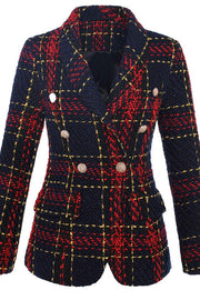 Red Plaid Double Breasted Blazer Jacket - DIOR BELLA