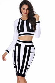 Black And White Long Sleeve Bandage Skirt Set - DIOR BELLA