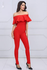 Red Ruffled Off Shoulder Bandage Jumpsuit - DIOR BELLA