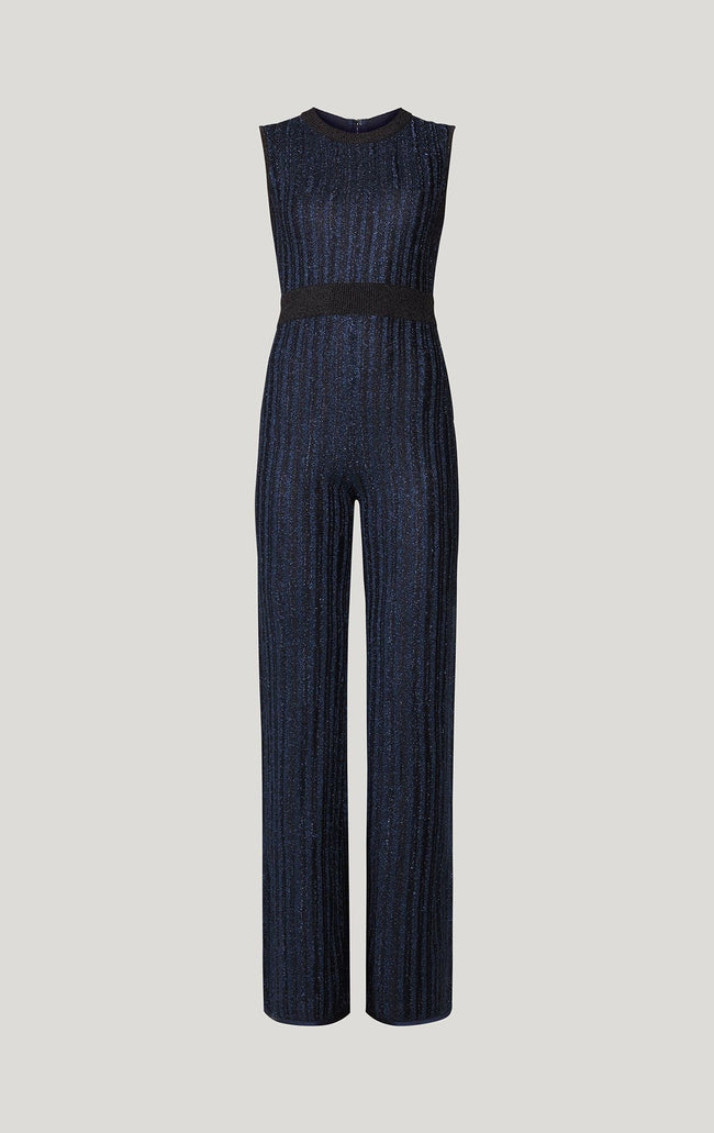 Blue Black Metallic Bandage Jumpsuit - DIOR BELLA