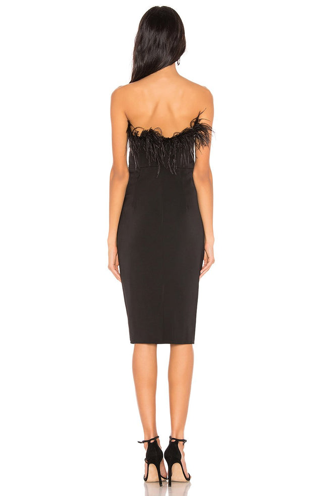Anna Black Feathers Strapless Bandage Midi Dress - DIOR BELLA