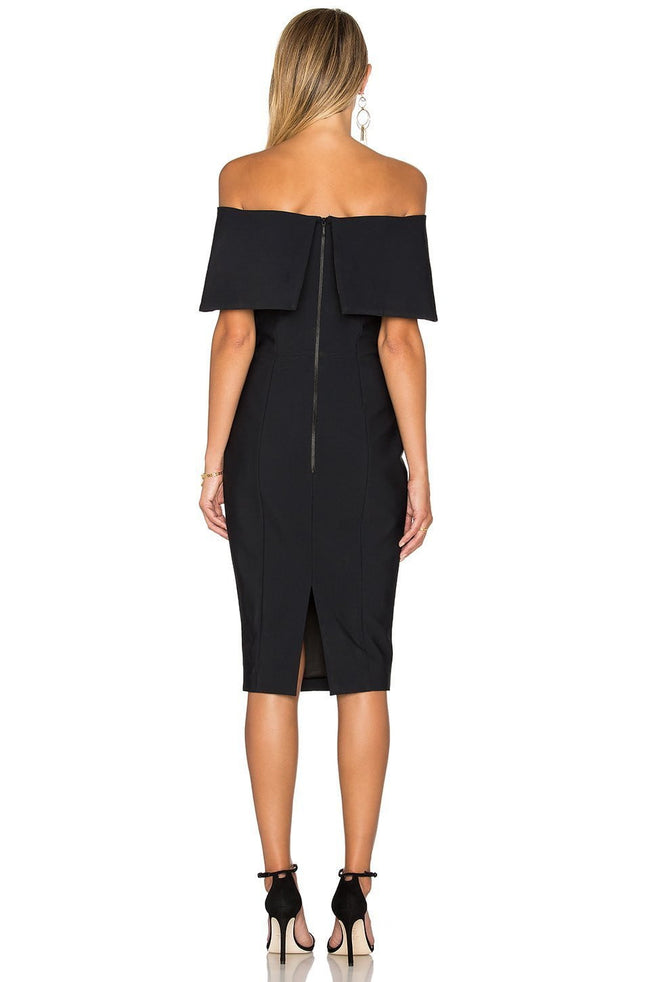 Classic Black Off Shoulder Midi Dress - DIOR BELLA