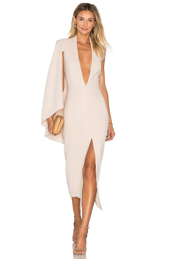 Veronica Blush Cape Bodycon Dress - DIOR BELLA