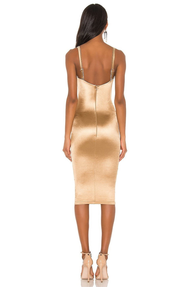 Gold Ruched Satin Bodycon Midi Dress