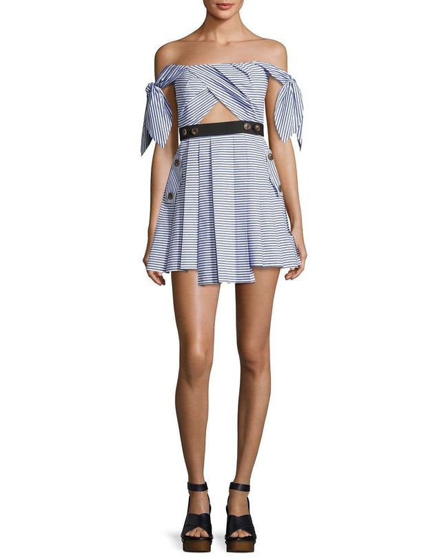Blue Striped Shirting Tie-Sleeves Mini Dress - DIOR BELLA