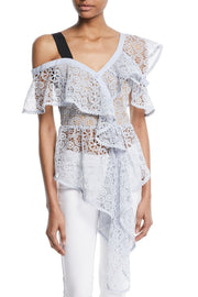 Light Blue Asymmetric Ruffle Floral Lace Blouse - DIOR BELLA