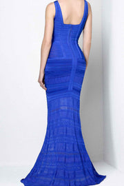 Royal Blue Bandage Lace Gown - DIOR BELLA