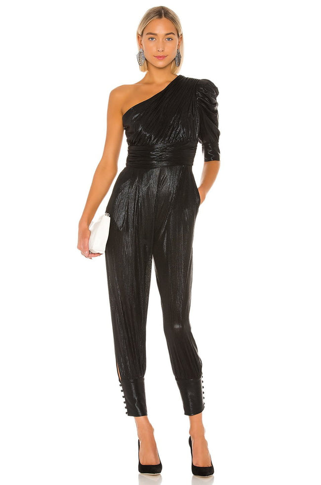 Black One Shoulder long Sleeve Jumpsuit