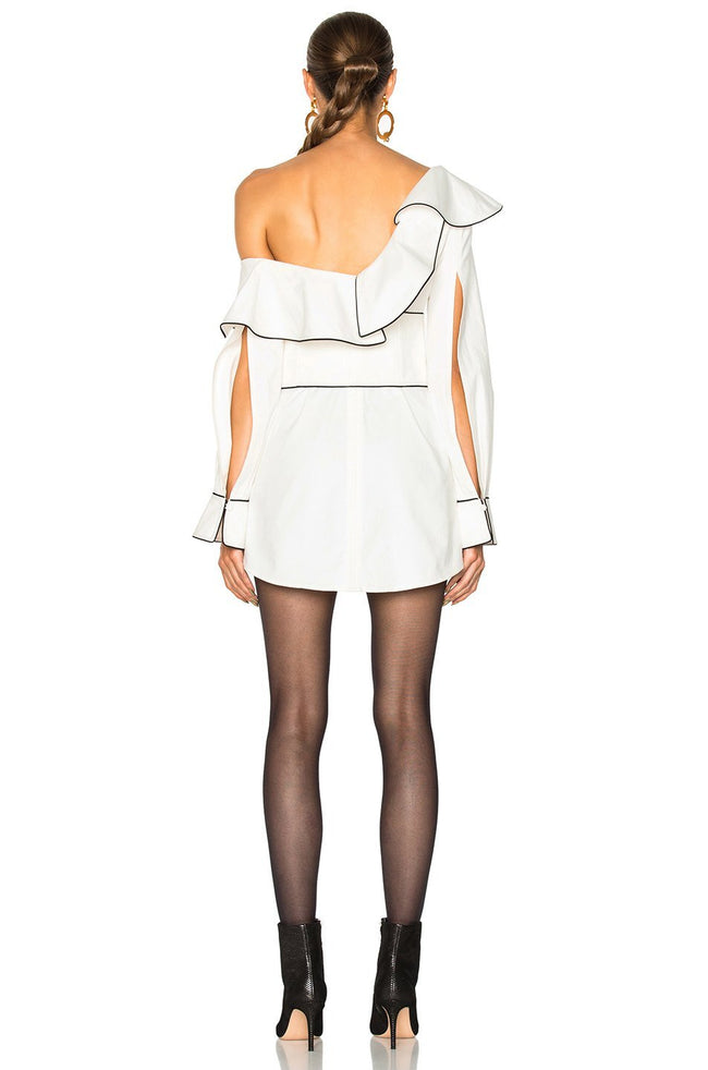 White Corset Waist Off Shoulder Tunic - DIOR BELLA