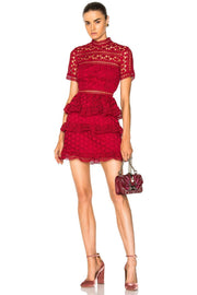 Red Star Lace Ruffled Mini Dress - DIOR BELLA