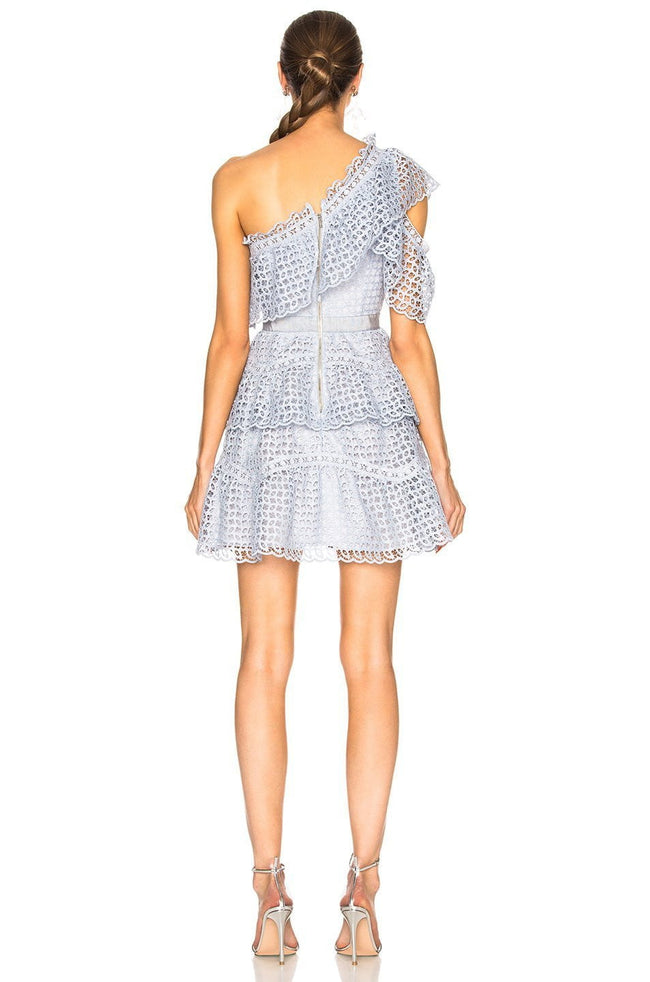 One Shoulder Cutwork Lace Min Dress - DIOR BELLA