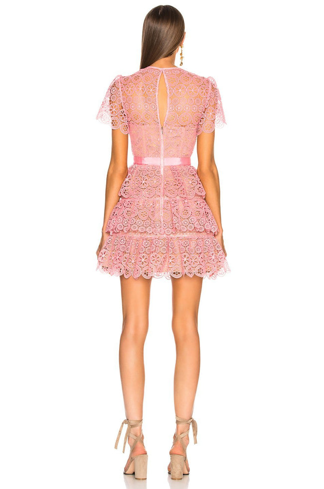 Pink Ruffle Lace Mini Dress - DIOR BELLA