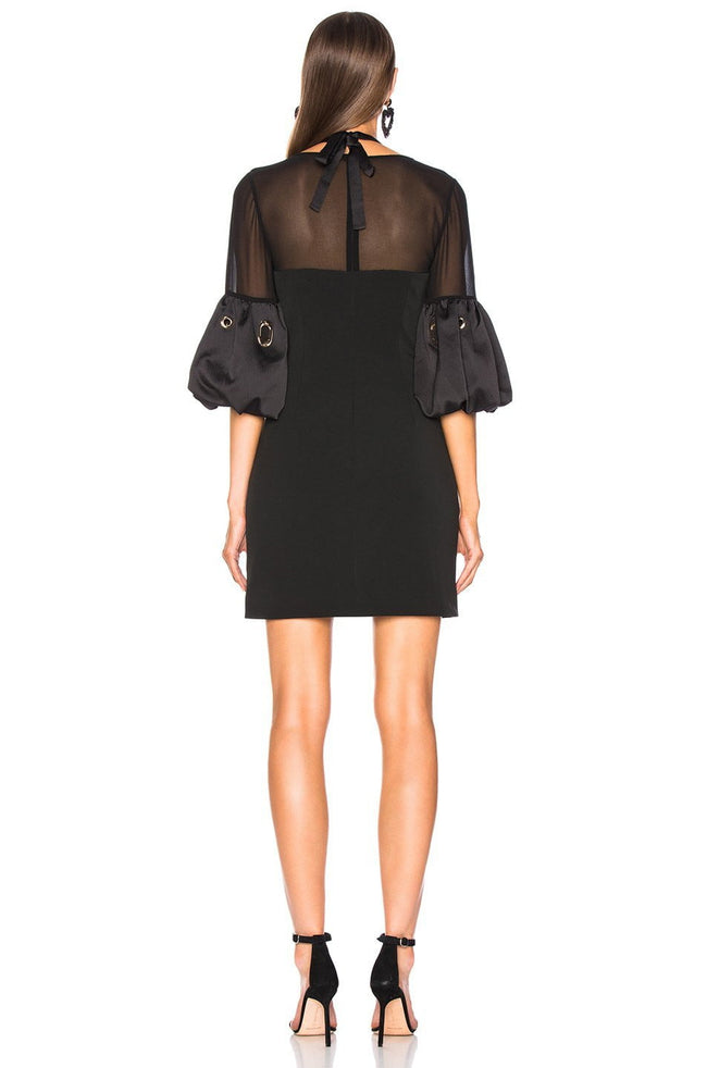 Joanna Black Lace Halter Mini Dress - DIOR BELLA