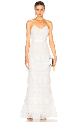 White Embroidered Lace Tiered Gown - DIOR BELLA
