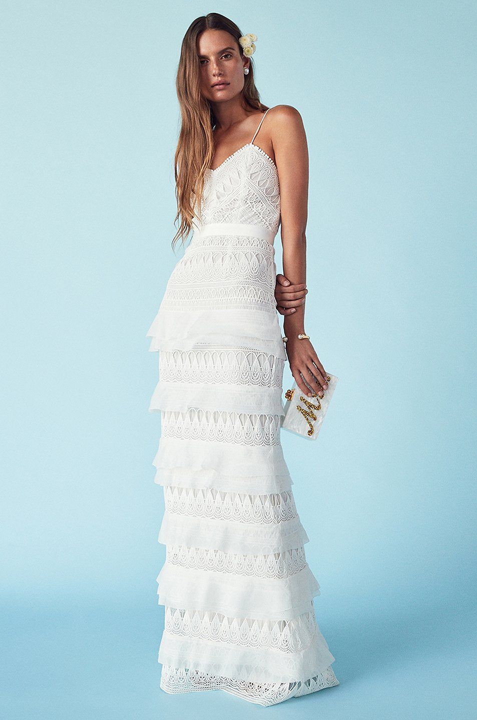 Wedding Bridal Dress Maxi White Embroidered Lace Tiered Gown Dior ...