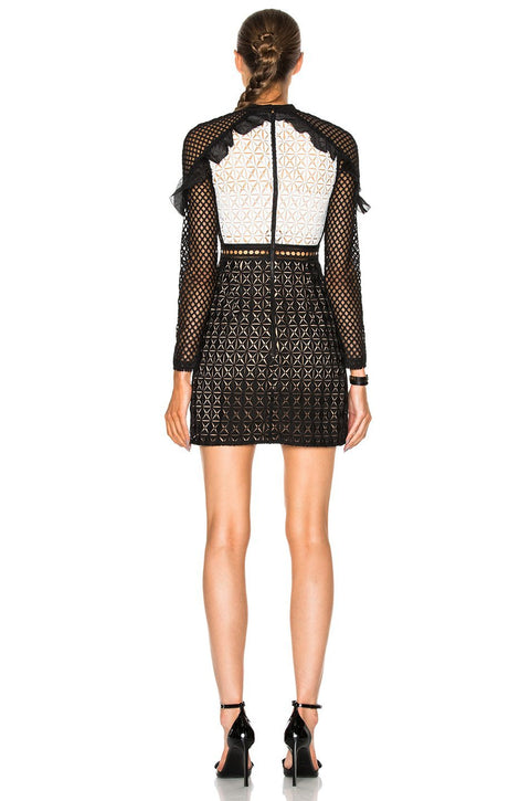 Ruffled Shoulder Embroidered Lace Min Dress - DIOR BELLA