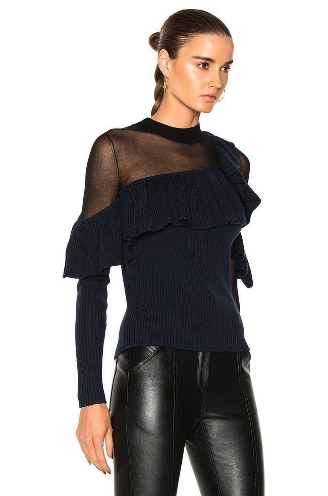 Ink Asymmetric Frill Sweater - DIOR BELLA