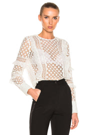 White Ruffled Long Sleeve Lace Blouse - DIOR BELLA