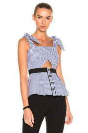 Blue Stripe Cutout Peplum Blouse - DIOR BELLA
