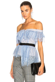 Baby Blue Lace Off Shoulder Blouse - DIOR BELLA