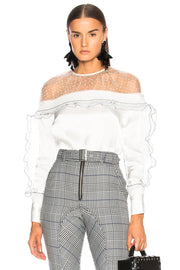White Satin Yoke trim Ruffle Blouse - DIOR BELLA