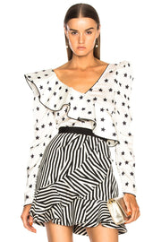 Ronnie Black And White Star Blouse - DIOR BELLA
