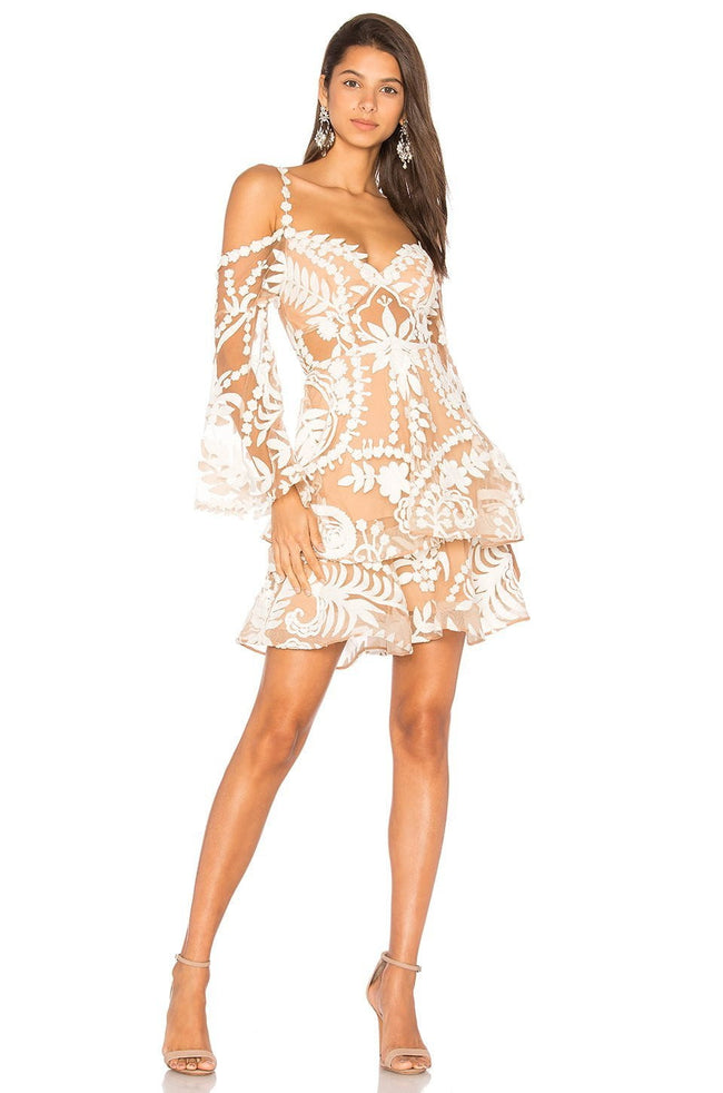 Cloud Nine White Lace Cold Shoulder Dress - DIOR BELLA