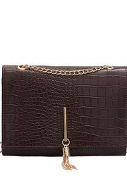 Crocodile Embossed Vegan Leather Tassel Handbag - DIOR BELLA