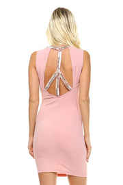 Women's Beaded Neckline Fitted Dress with Back Cut Out Detail - DIOR BELLA