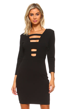 Women's 3/4 Three Quarter Sleeved Bodycon Cutout Dress