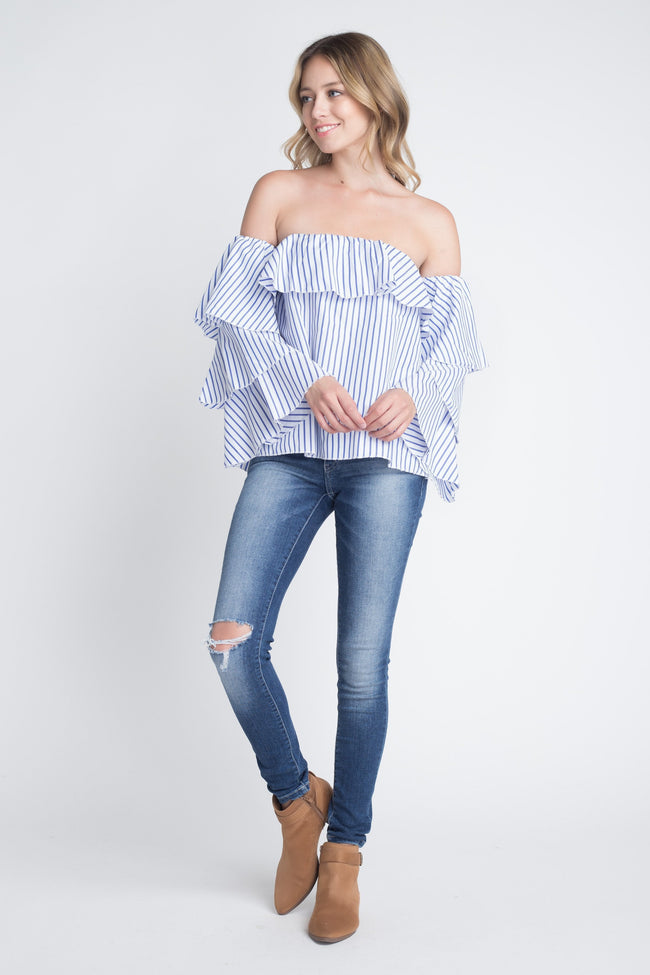 Off Shoulder Stripe Ruffle Long Sleeve Top - DIOR BELLA