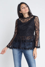 Women's Semi Lace Zipper Back Flare Sleeve Blouse - DIOR BELLA