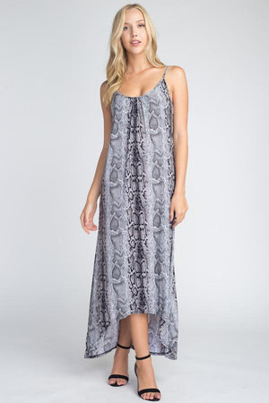 Gray Chiffon Snakeskin Print Maxi Tank Dress