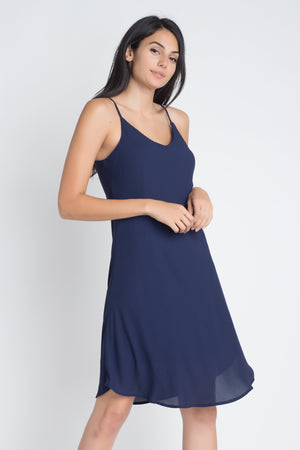 Navy Blue Casual Sleeveless Open Back Dress