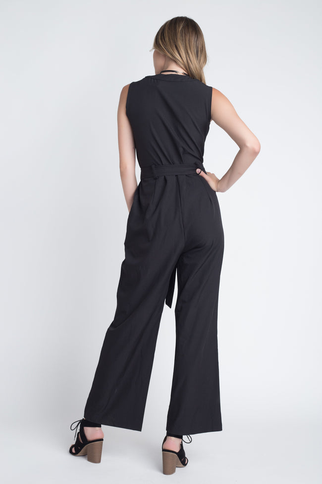 Women's Tie Sleeveless Buttoned Jumpsuit - DIOR BELLA
