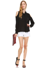 Black Cut-out Shoulder Button Down Chiffon Top - DIOR BELLA