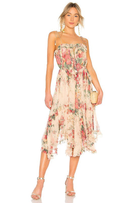 Antique Floral Asymmetrical Midi Dress - DIOR BELLA
