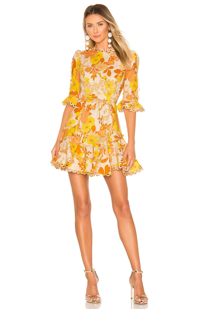 Yellow Floral Primrose Mini Dress - DIOR BELLA