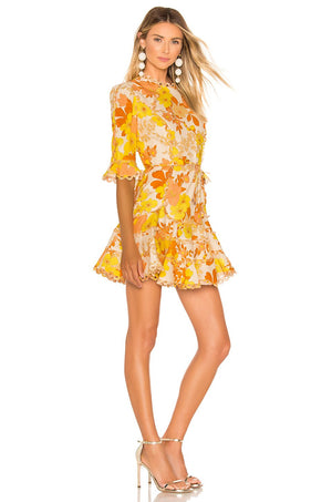 Yellow Floral Primrose Mini Dress