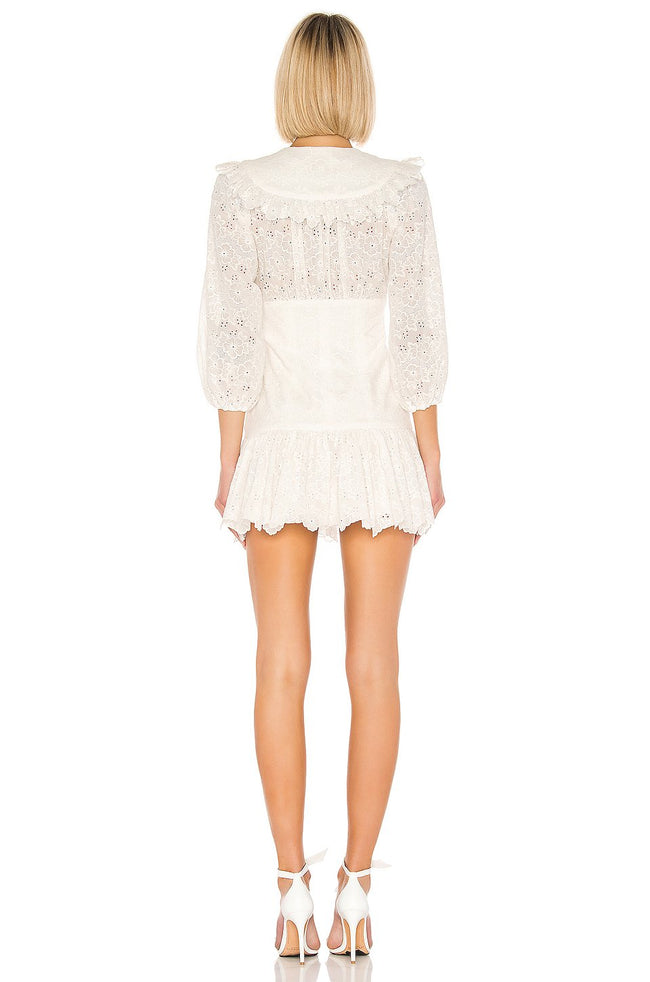 White Lace Corset Puff Sleeve Mini Dress - DIOR BELLA
