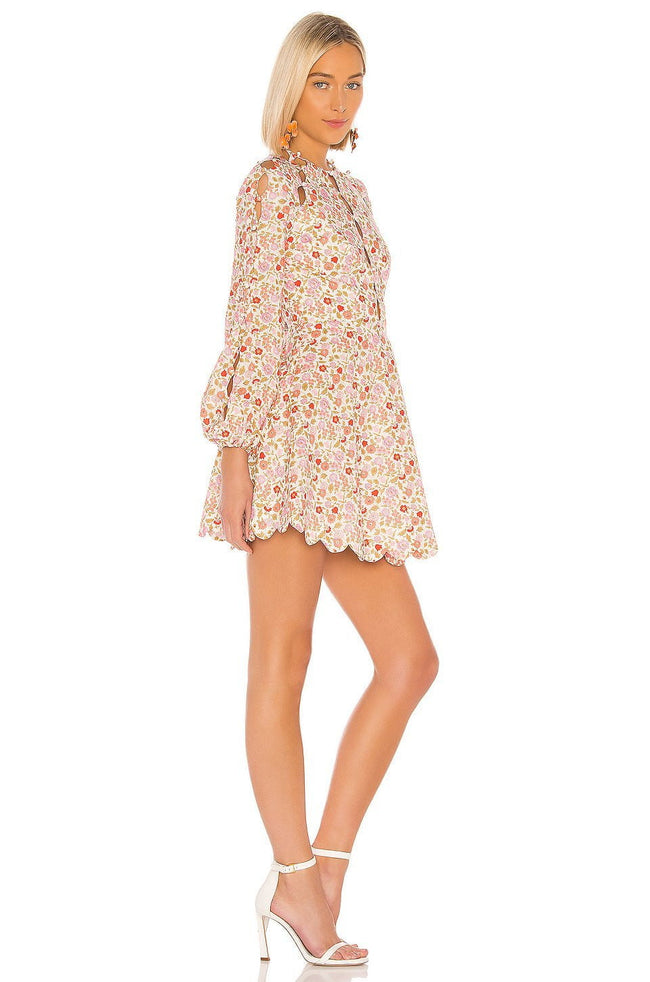 Long Sleeve  Floral Scallop Mini Dress - DIOR BELLA