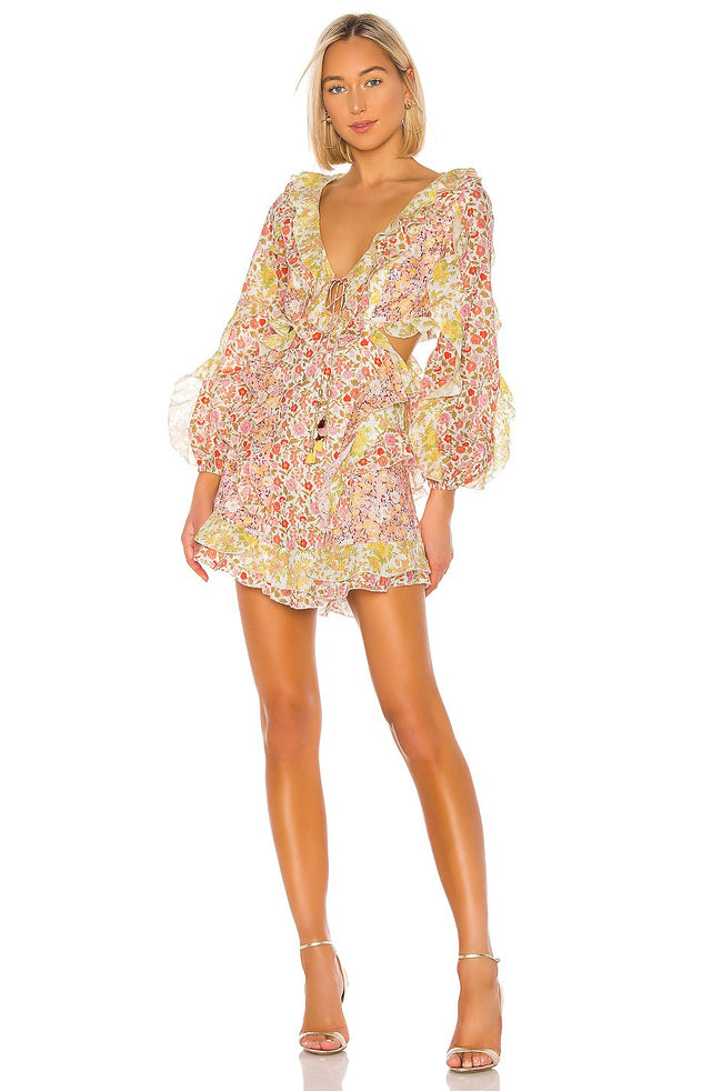 Yellow Floral Ruffle Cutout Side Mini Dress - DIOR BELLA